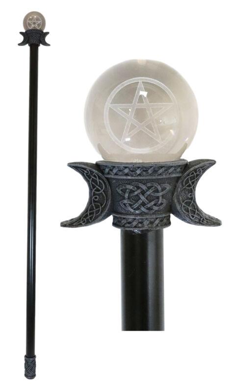 "Ebros Pentagram Decorative Walking Cane with Battery Operated LED Light 35""H"