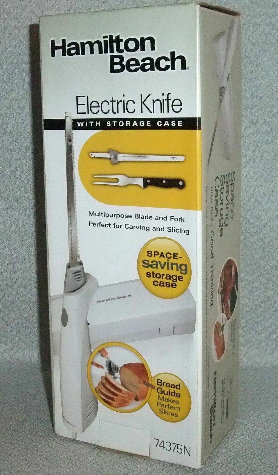 Hamilton Beach WHITE Electric Knife w/Storage Case & Bread G