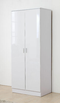 HIGH GLOSS White on White Wardrobe - *FREE DELIVERY*