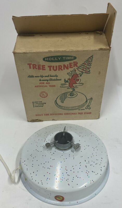 Vintage Holly Time Tree Turner Christmas Tree Stand With Box