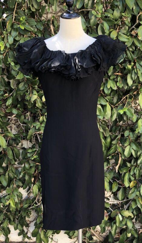vintage 50s Black Ruffle cocktail dress S