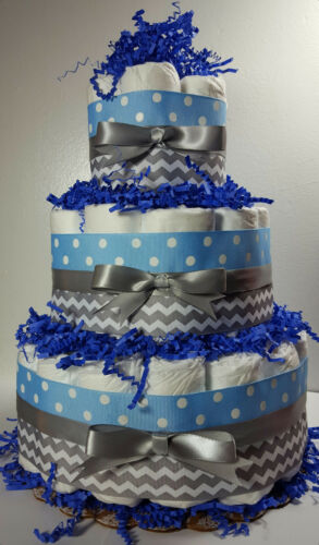3 Tier Diaper Cake - Light Blue/Silver Chevron - Boy Baby Shower Centerpiece
