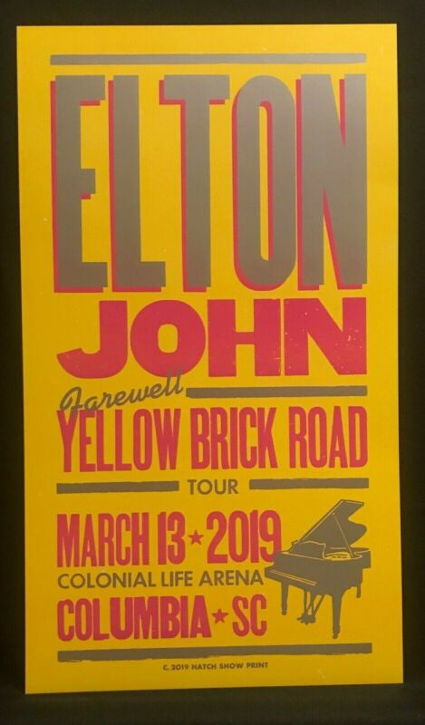 ELTON JOHN Farewell Yellow Brick Road HATCH SHOW PRINT 2019 Tour Poster Columbia