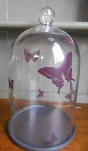 M&S Butterfly Print Large Glass Display Cloche Dome - Rare Retired - Botanical