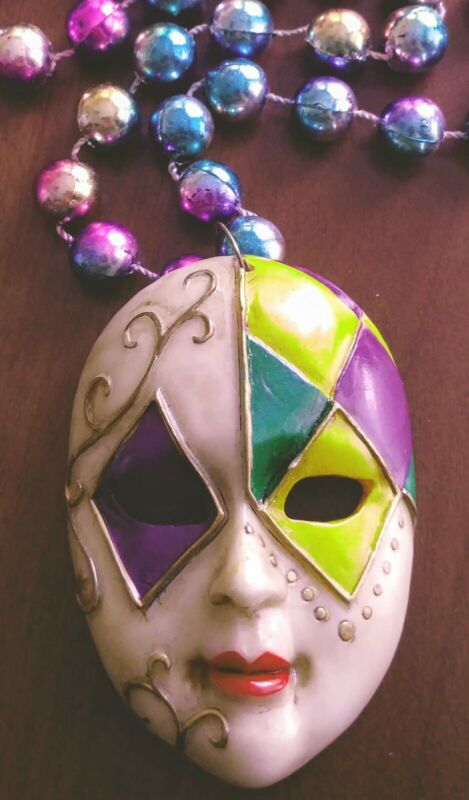 Harlequin Mask Necklace Mardi Gras Party Bead