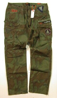 Superdry Men's Patched Forest Camo Ripstop Parachute Cargo Slim Fit Stretch Pant