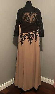 JORDAN CATERINA 2 PC DRESS SIZE 12 NWT MOTHER OF THE BRIDE CHOC/SUEDE IN COLOR Jordan Mother Dress