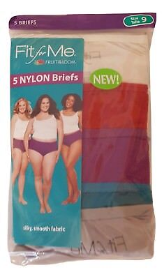Fruit of the Loom Women's Fit for Me Plus Size 100% Nylon Briefs 5 Pack Panties