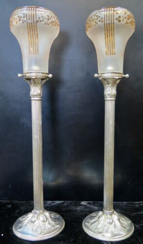 Vintage Early 20th Century Silverplate Tall Candlesticks w/ Art Glass Shades