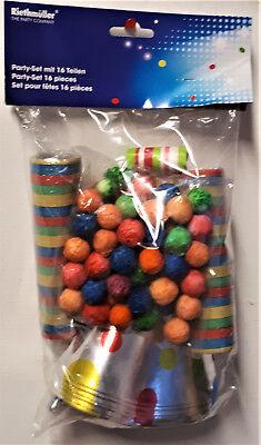 16 tlg Partyset, Hüte, Ballons, Luftrüssel, Luftschl  Wattebälle Silvester Feier