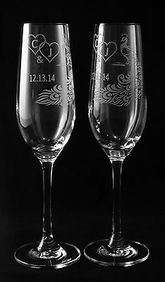 Peacock Feather Personalized Wedding Toasting Glasses #2, Champagne (Peacock Wedding Glasses)