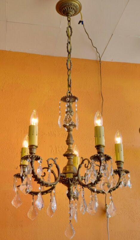Vintage 5 lights Ornate Spanish Brass Chandelier , lots of prisms..