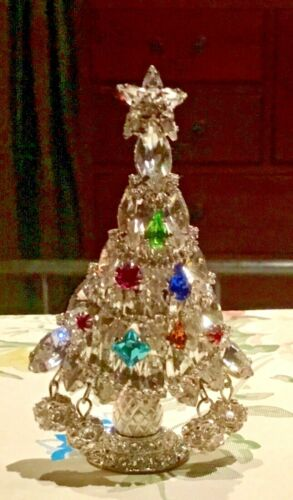 """Signed L-S Rhinestone Christmas Tree Pin Brooch Large  Stands 3 1/4"""" high! LOOK!"""