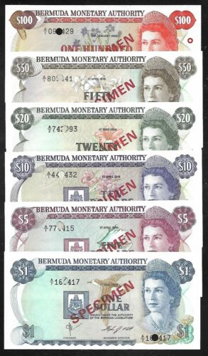 Bermuda - SPECIMEN set/6 Notes - 1 to 100 Dollars - 1978/1984
