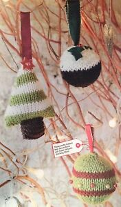 Festive Baubles Christmas Tree Decorations Knitting Pattern