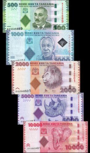 TANZANIA Set  5 PCS 500-1000-2000-5000-10000 SHILLINGS 2010-2015 P40 TO P45B UNC