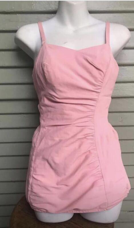 Vtg 50s L Rose Marie Reid Bathing Swim Swimming Play Suit 1950s Romper Pink