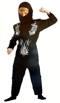 Boy's Black Dragon Ninja Halloween Costume Size Small NEW Jumpsuit w/ Armor Hood ()