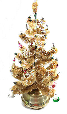 Vintage 1950's Rotating Musical Bottle Brush Christmas Tree Stand Ornaments