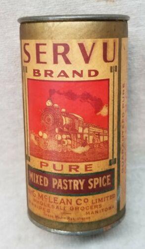 Vintage Servu Brand Paper Label Spice Tin pictures Train.