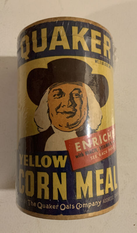 Vintage 1950s Quaker Yellow Corn Meal NOS Unopened Full Sealed Bread