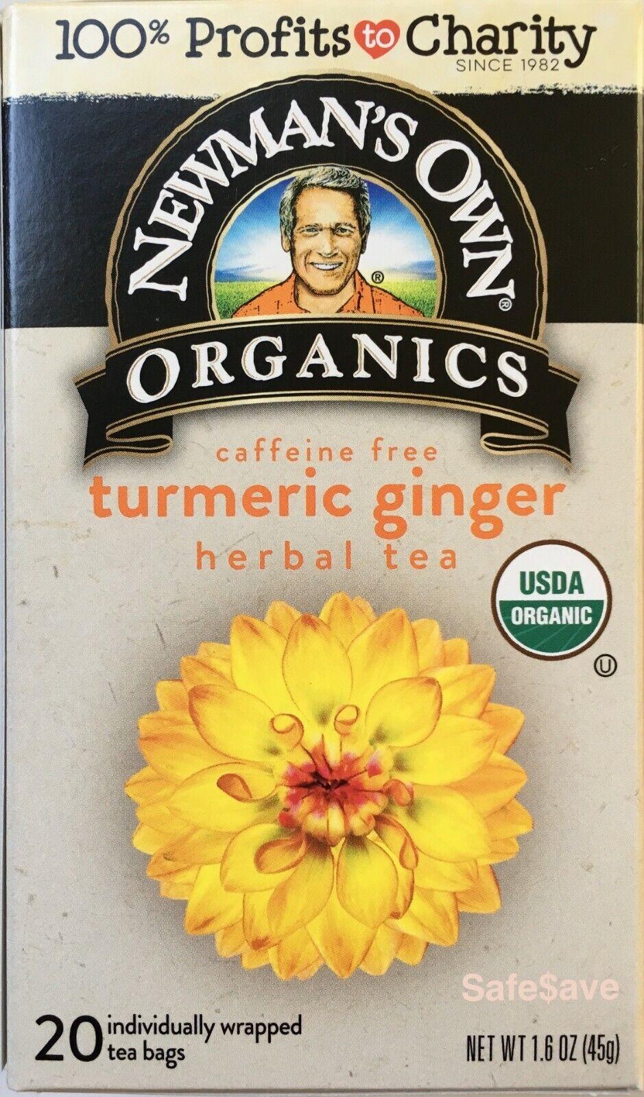 Organic Ginger Turmeric  Tea, 20 Count Newman's Own Organics