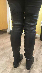 Black faux leather above the knee boots Kawartha Lakes Peterborough Area image 5