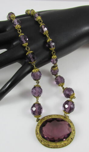 Antique Czech Gold Gilt Ivy Leaves Pendant Purple Glass Beads Beaded Necklace
