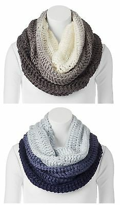 Apt.9 Womens Ombre Cowl Infinity Scarf Sweater Knit Black or Navy New $32 ()