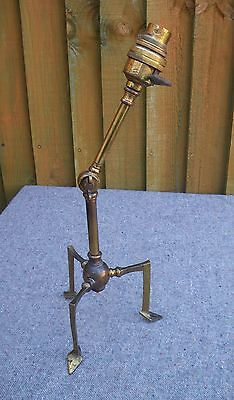 ANTIQUE EDWARDIAN ARTS & CRAFTS ARTICULATED BRASS PULLMAN TABLE LAMP