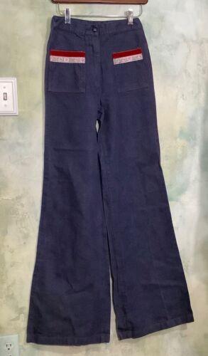 Vintage 70's Dark Denim High Waist, Wide Leg Jeans Sz S