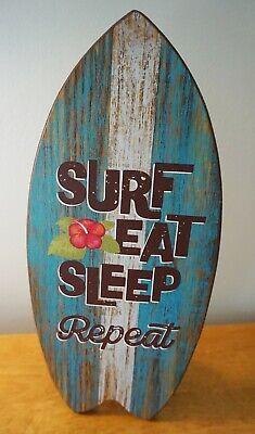 SURF EAT SLEEP Rustic Surfboard Sign Tropical Beach Home Tiki Bar Surfing Decor Sign Surf Decor Tiki Bar