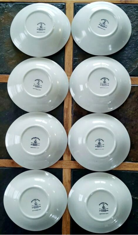 Set of 8 Vintage Harker Country Style Stoneware oval cereal/soup bowls