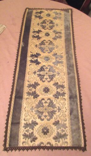 antique ornate embroidered centerpiece table mat runner velour needlepoint 37