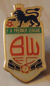 BOLTON-WANDERERS-Official-1990s-FA-premier-league-badge-16mm-x-31mm-Red-script