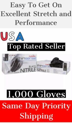 1000 in a CASE THINSENSE Nitrile Gloves MEDIUM BLACK (4/250) Latex/Powder Free