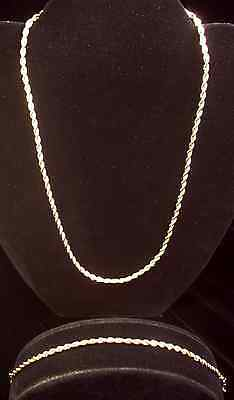 Vintage Gold Twisted Rope Chain Demi Parure, Necklace, Bracelet, Jewelry Set