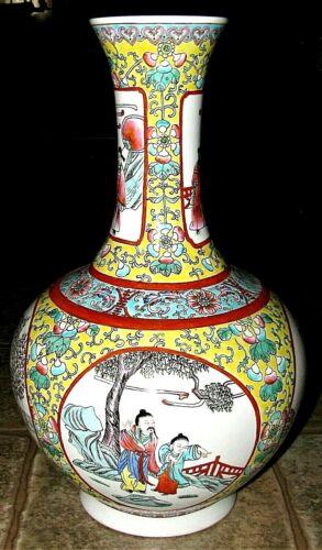 """Antique Fine Porcelain Ching Dynasty Famille Rose Vase 15-1/2"""""""