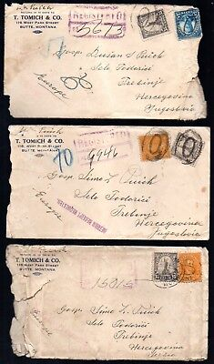 Yugoslavia: 1924-34 group of 8 covers to Trebinje from USA some registered