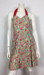 G-F-D-abito-vestito-cotone-floreale-42-leggero-usato-pieghe-vintage-mare-T1880
