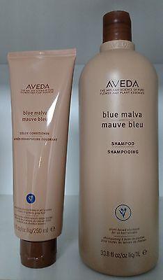 Lot of 2 Aveda 1 BLUE MALVA Shampoo Liter & 1 Conditioner 8.5 oz Duo New Set