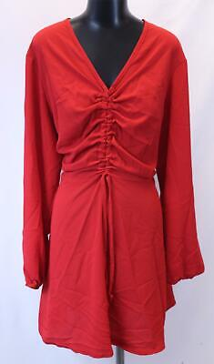 Boohoo Women's Long Sleeve Plus Ruched Front Smock Dress SD8 Red Size US: 18 NWT