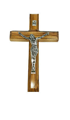 10 inch Olive Wood Cross, Hanging Wall Jesus Crucifix from Jerusalem Holy Land