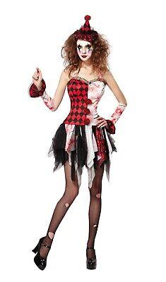 Ladies Fancy Dress Scary Jester Lady Costume Halloween Zombie Circus (Scary Lady Kostüm)
