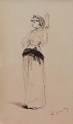 Eugène Giraud Französische Orientalistische Zeichnung Kostüm Theater Frau - Romantik Theater Kostüme