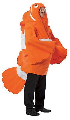 Clownfisch Sea Life Tier Erwachsene Unisex Kostüm Orange & Weiß Halloween Kleid (Clown Fisch Erwachsene Kostüme)