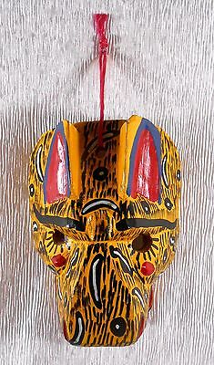 Vintage Latin America / Mexico HAND CARVED  Cat TIGER Jaguar TRIBAL MASK w Fangs