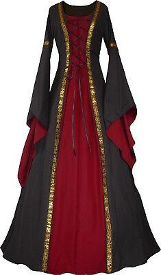 Mittelalter Gothik Karneval Halloween Kleid Kostüm Anna Schwarz-Bordeaux XS-60