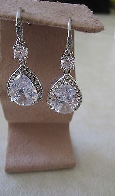 NWT Carolee Beautiful Clear Cubic Zirconia Drop Earrings/ Fish Hook Backs $60