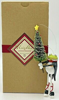 Krinkles Patience Brewster Leaping Frog with Tree Christmas Ornament Dept 56